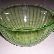 Large Green Ribbed Depression Glass Batter Bowl