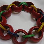Bracelet wooden and plastic links