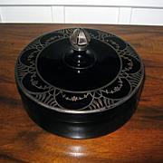 Black Amethyst Depression Glass Lidded Bowl
