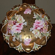 Gold Floral Footed Bowl