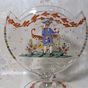 Wonderful Enamel Art Glass Pillow Vase Folk Art Design