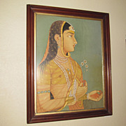 Silk Indian Painting, Large Female Portrait, Pearls, Henna & Flowers