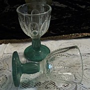Set of 4 Crystal Bowl/ Green Stem Wine Glasses and Forest Green Serving Tray