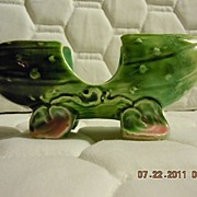 """Vintage Pottery Small Ceramic Footed Pickle 5"""""""