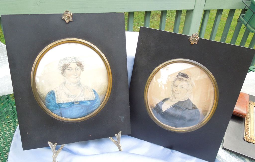 Mother and Daughter, Water Color on Paper, Early Victorian