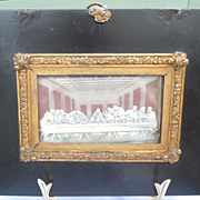 """Framed Wax Copy of DaVinci's """"The Last Supper,"""" Victorian"""