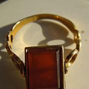 Vinaigrette ring, Cornelian, Early Victorian