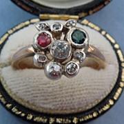 18 ct Rose Cut Diamond and Tourmaline Ring, Victorian