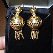 18 k gold and enamel earrings, Victorian