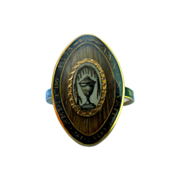 Memorial Ring, Georgian, Black Enamel, and Urn