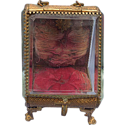 French Ormolu and Glass Pocket Watch Stand, Victorian