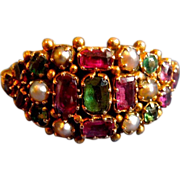 Gem Set Cluster Ring, Victorian
