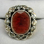 Garnet and Rose Cut Diamond Ring, Victorian