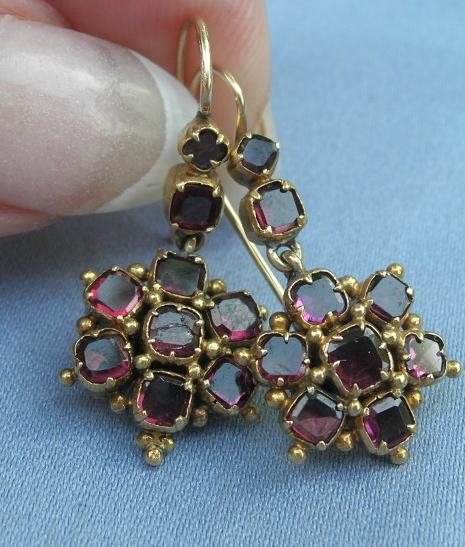 Garnet Cluster Earrings, Victorian