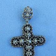 Rose Cut Diamond Cross Pendant, Georgian