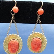 Coral Cameo Earrings, Victorian, 15 ct