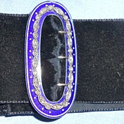 Blue Enamel and Rose Cut Diamond Buckle, Choker