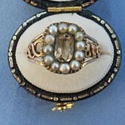 Citrine and Natural Pearl Ring, Georgian