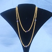 14 ct chain, 17 1/4 inches,cabochon amethysts, Victorian