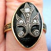 Memorial Jewelry, Mourning Jewelry, Georgian Ring, Rose Cut Diamonds, Enamel band