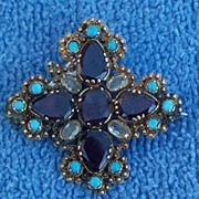 Cross Pendant/Brooch, , Almondine Garnets, and Persian Turquoise, Georgian