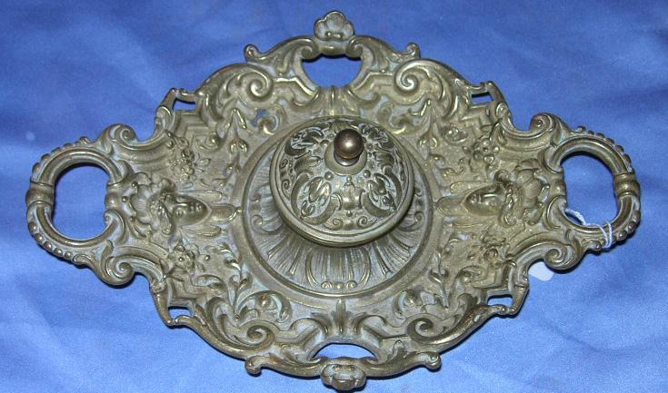 Brass Inkwell, Porcelain Pot, Victorian