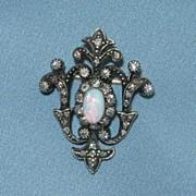 Pendant/Brooch/ Rose Cut Diamonds and Opal, Victorian