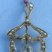 Pendant, Lavalier, Aquamarines and Pearls, Victorian