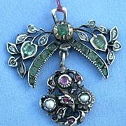 Pendant, Georgian, Rubies, Emeralds, and Diamonds