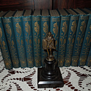 The Works of Shakespeare in 12 Volumes, With Bronze Statue, Victorian