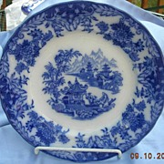 Flow Blue Plate, 10 inch, Rorstand, Victorian