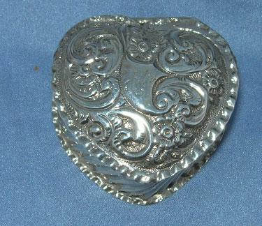 Heart Shaped Trinket Box, Silver, Victorian
