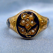 Forget-Me-Not Ring, Pearls and Enamel, Victorian