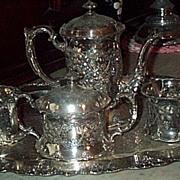 REDUCED Victorian Tea Service, 5 Pieces, Quadruple Plate, Apollo Silver Co
