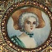 French Brass Box with Portrait Miniature