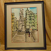 REDUCED Transamerica pyramid San Francisco water color by Mark Luca