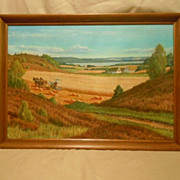 Th. e. lingus oil painting farm scene large