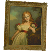 Antique portrait of young girl large oil painting