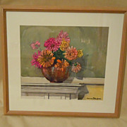 Watercolor still life of zinnias in vase signed DELBOB