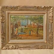 Paris scene of park & Eiffel Tower Impressionist painting