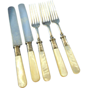 Mother of pearl handle sterling ferrule forks and knives