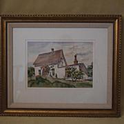 Wm Cameron watercolor Old Farmhouse mendocino California
