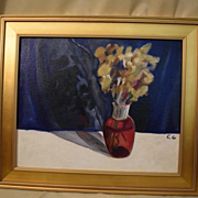 Charles Garabedian acrylic painting vase of flowers still life