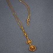 Edwardian diamond triple drop lavalier 10k gold & chain