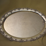 Large oval silver plate grape & vine tray England