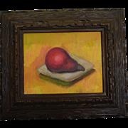 Still life of pear oil painting by California artist Andre Boratko