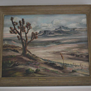 Desert landscape joshua trees oil signed