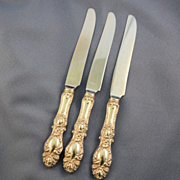Three knives Wallace Lucerne sterling handles