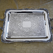Silver plate rectangular serving tray Wm Rogers