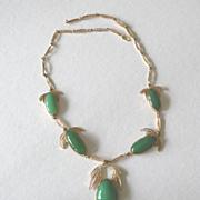 Edwardian chrysophrase filigree 14k gold necklace